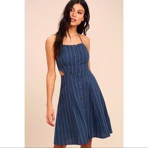 ASTR THE LABEL BLUE STRIPED HALTER DRESS